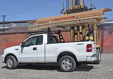 This pickup rack is a forklift accessible rack for trucks
