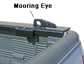Truck rack right side base rail with slotted mooring eye.