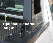 This pick-up truck rack reinforces and protects the truck headrail.