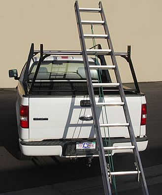 Your ladder can never scratch the paint off the crossbar of this truck ladder rack