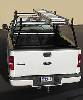 Feel free to slide your ladder over the crossbar of this pick-up truck ladder rack.